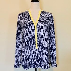 Francesca's Miami Blue & White Patterned Blouse